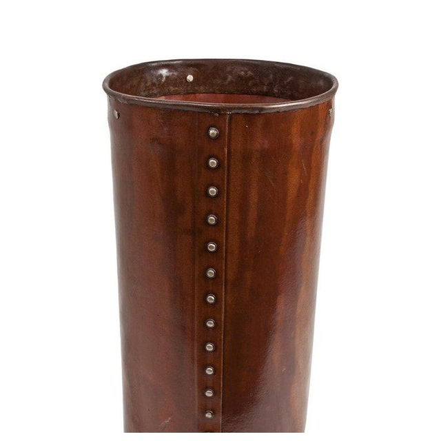 Cured Leather Umbrella Stand For Sale - Image 4 of 5
