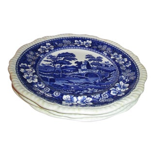 1920s Copeland Spode Blue Tower Dinner Plates From England - Set of 7 Preview