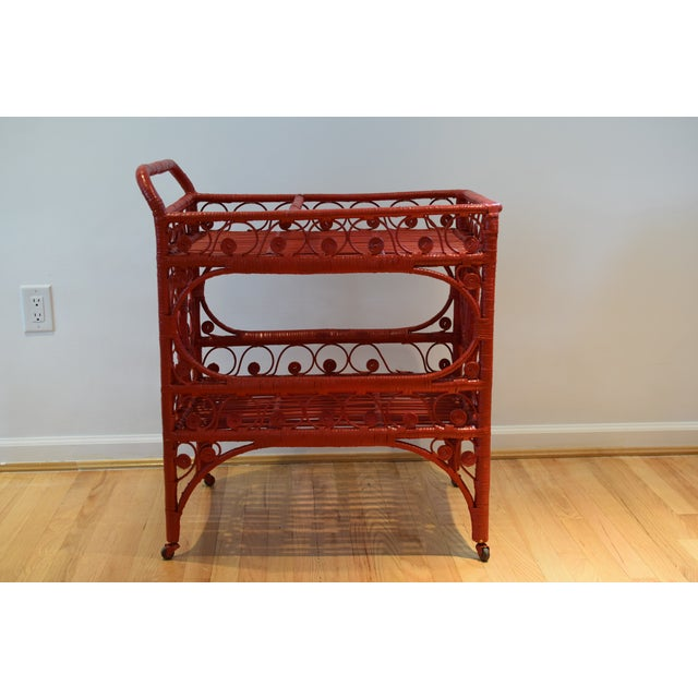 1970s Boho Chic Red Rattan Bohemian Cart For Sale - Image 12 of 12
