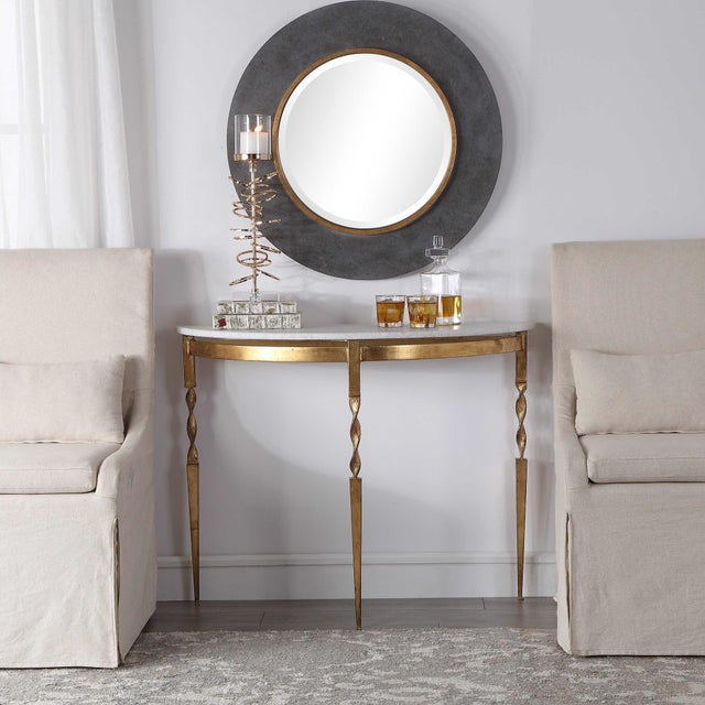 2010s Marble Demilune Console Table For Sale - Image 5 of 6