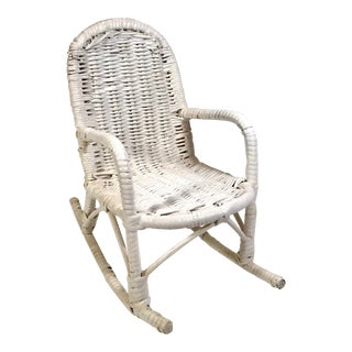 Vintage White Wicker Doll Rocking Chair For Sale
