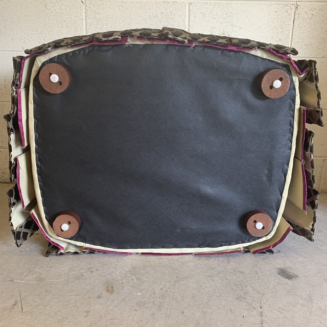 Silk Chocolate Laser Cut Velvet and Pink Satin Ottoman For Sale - Image 7 of 11