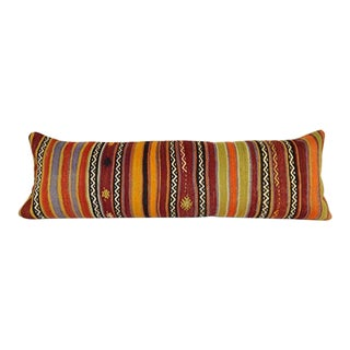 "Queen Boho Woven Bedding Kilim Pillow Cover, Oversize Turkish Lumbar Cushion With Anatolian Design, 16"" X 49"" (40 X 125 Cm) For Sale"