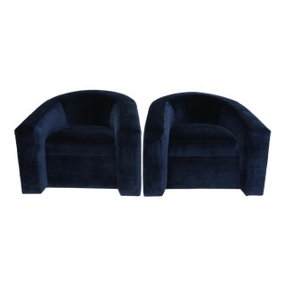Pair of Velvet Tub Chairs For Sale