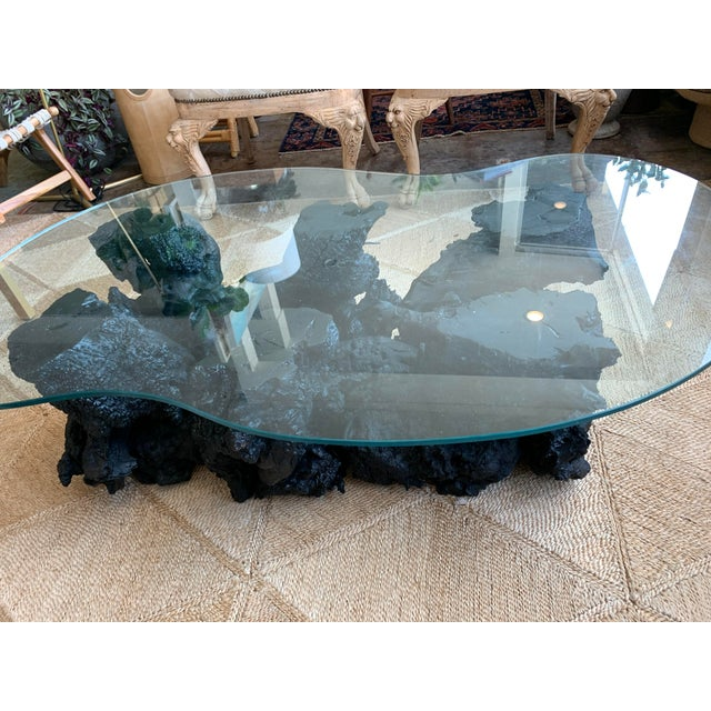 Vintage matte black root table. This is a 1950's root table we have masterfully laquored to bring it to contemporary glory.