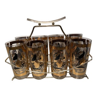 1950s Mid-Century Black and Gold Greek Horse Highball Cocktail Glasses - Set of 8 For Sale