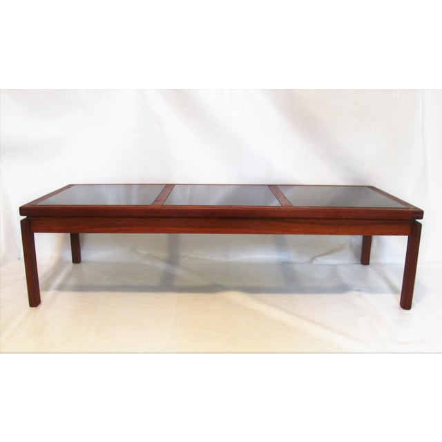 Mid-Century Modern Teak & Smoked Glass Coffee Table - Image 3 of 4