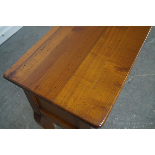 Custom French Country Cherry Wood Console Tables - A Pair - Image 5 of 10