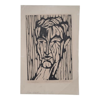 "1960's Mid Century Woodblock Titled ""Prometheus"" by Mystery Artist For Sale"
