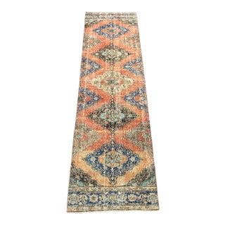 Turkish Boho Handmade Decorative Faded Orange Oushak Hallway Runer Rug - 3′ × 11′4″ For Sale
