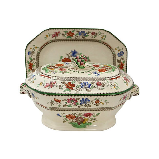 Late 19th Century Antique Spode Chinese Rose Soup / Dinner Set - 23 Pieces For Sale - Image 5 of 6