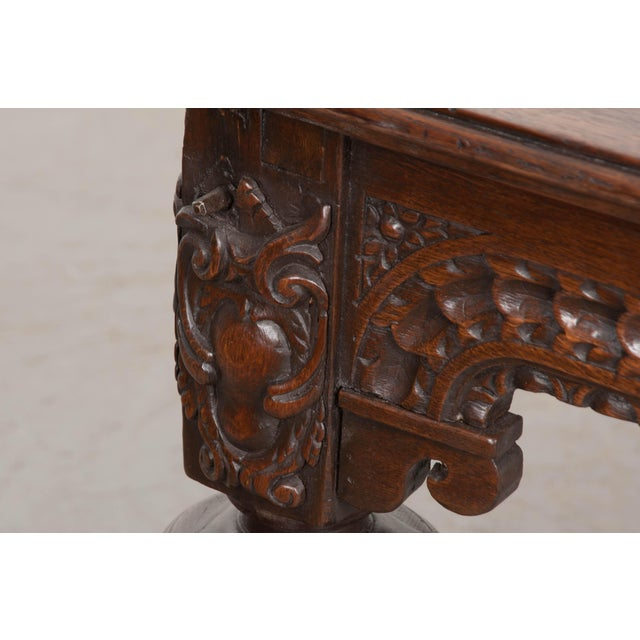 French 18th Century Elizabethan-Style Hand-Carved Oak Center Table For Sale - Image 10 of 13
