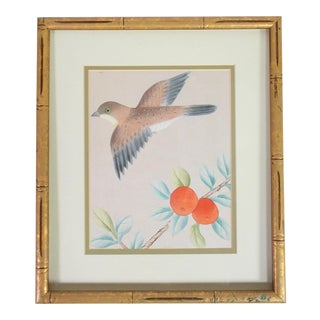 1970s Handpainted Chinoiserie Wallpaper Remnant of Sparrow & Peach Tree in Gilt Faux Bois Bamboo Frame For Sale