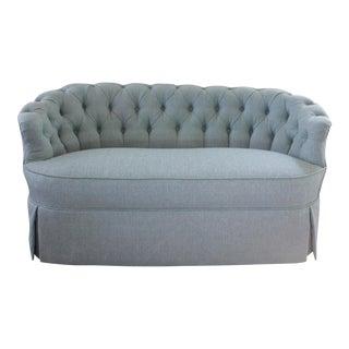 Vintage Blue Tufted Sofa For Sale