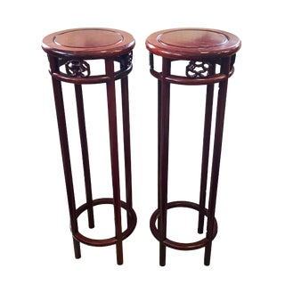 Old Chinese HuangHuali Rose Wood Stands - a Pair For Sale