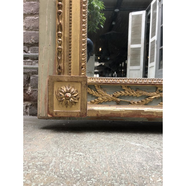 Green A North Italian Gilt Wood and French Olive Painted Trumeau Mirror, 18th Century For Sale - Image 8 of 10