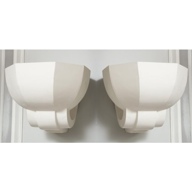 Pair of Custom Plaster Sconces in the French, 1940s Manner For Sale - Image 9 of 9
