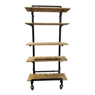 Adjustable Black Pipe Shelf Unit For Sale