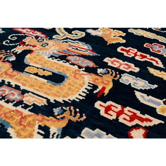 Indigo Blue, Red, Green, Orange Wool Tibetan Double Dragon Area Rug For Sale - Image 4 of 8