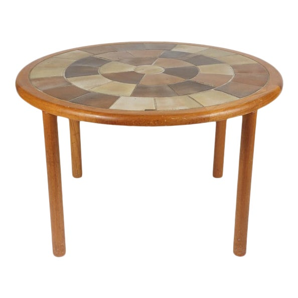 Tue Poulsen Designed Ceramic Tile Dining/ Dinette Teak Table by Haslev For Sale