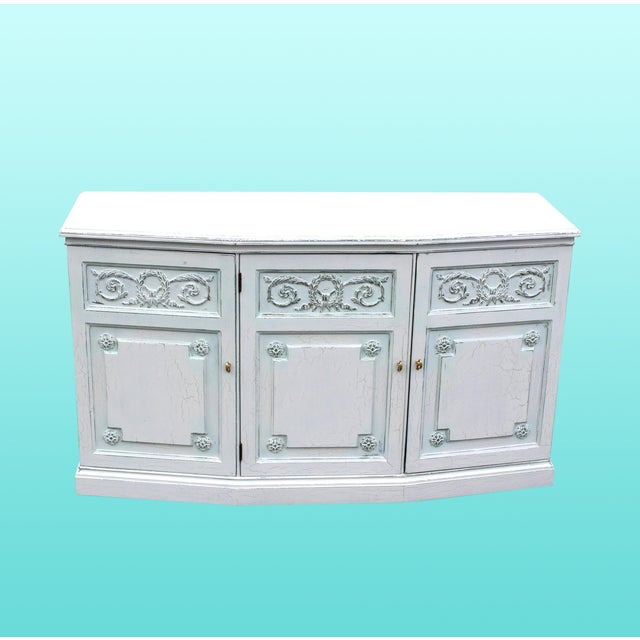 Mid-Century cabinet console with neoclassical motif this beautiful cabinet have been restored and in a distressed off...