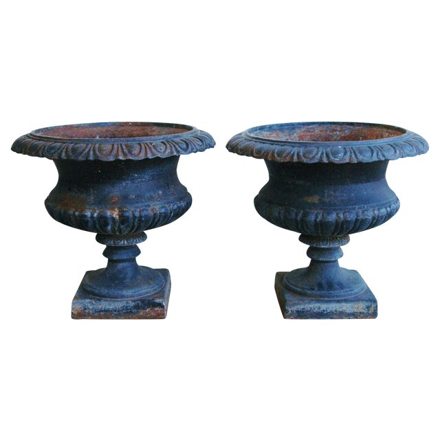 Early 19th-C. Cast Iron Urn Planters - Pair - Image 1 of 11