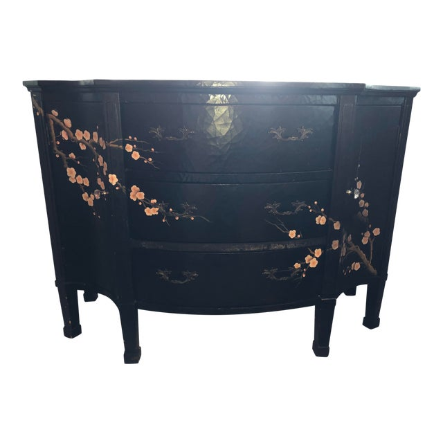 Jardin en Fleur Distressed Black Finish Asian Art Deco Bombay Dresser For Sale