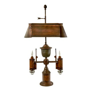 Late 19th Century Farmhouse Style Copper and Brass Table Lamp For Sale