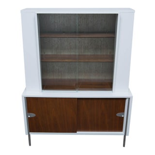 Raymond Loewy for Mengel Furniture Lacquered Walnut Display Cabinet For Sale
