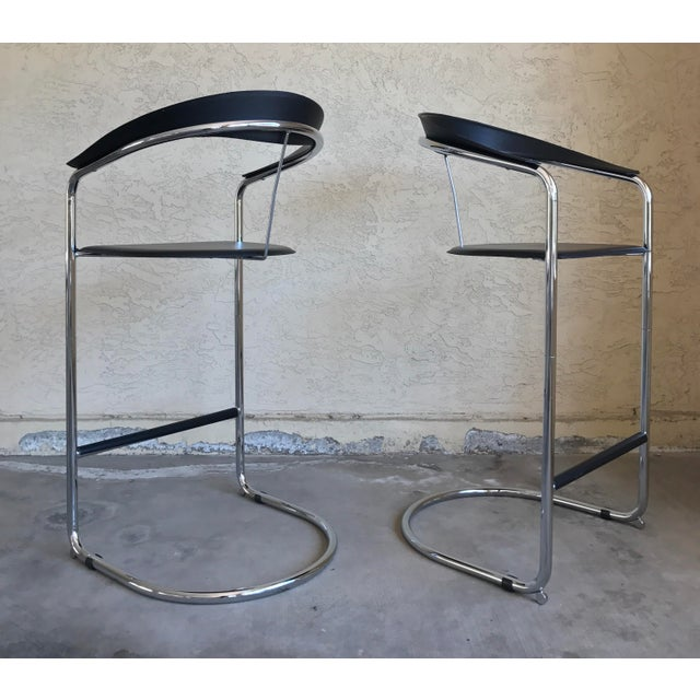 Modern Bar Stools In The Style of Anton Lorenz for Thonet- A Pair - Image 6 of 11