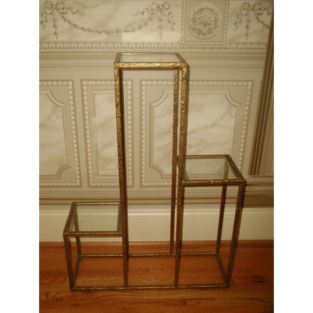 Gilt Metal & Glass 3 Tier Shelf Table - Image 2 of 9