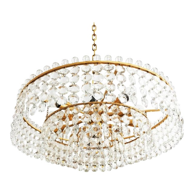 Cut Crystal Chandelier by Bakalowits, 1960s For Sale