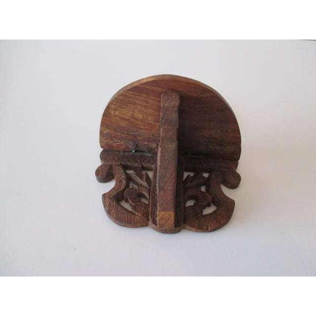 Late 20th Century Decorative Petite Indian Carved Wood Shelf For Sale - Image 5 of 6