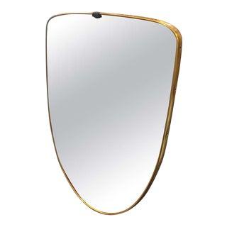 1950s Italian Mid Century ?Odern Gio Ponti Style Brass Shield Wall Mirror For Sale