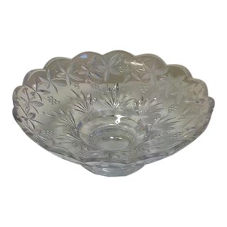 Vintage Pressed Pattern Scalloped Glass Serving Bowl