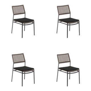 Outdoor Side Chair, Carbon and Mocha with Pepper Pad (Set of 4) For Sale