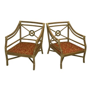 McGuire Target Back Rattan & Rawhide Chairs For Sale