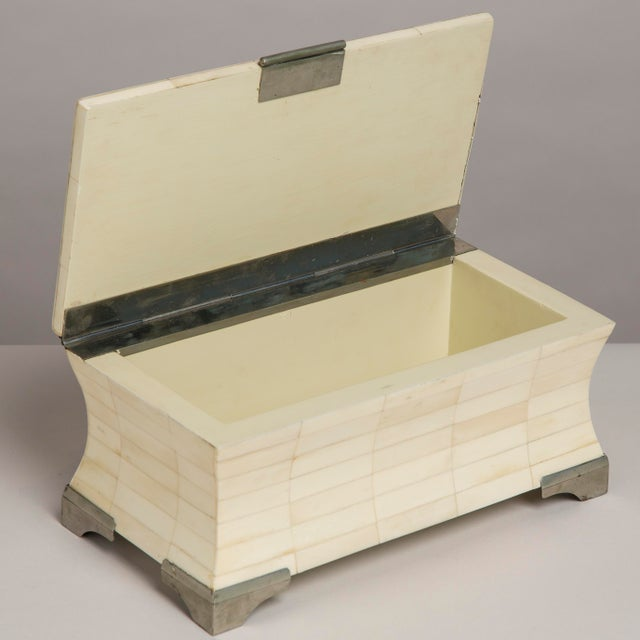 A Tessellated Bone Veneered Hinged Lidded Box, 1970s For Sale - Image 4 of 5