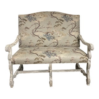 Antique French Settee in Asian Pagoda Fabric For Sale