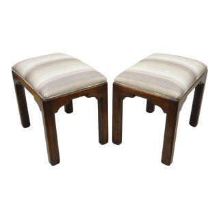 Late 20th Century Ethan Allen Cherry Wood Upholstered Georgian Style Stool Benches- a Pair For Sale