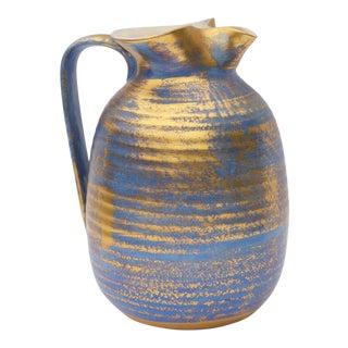 Vintage Blue & Gold Ceramic Pitcher by Stangl For Sale