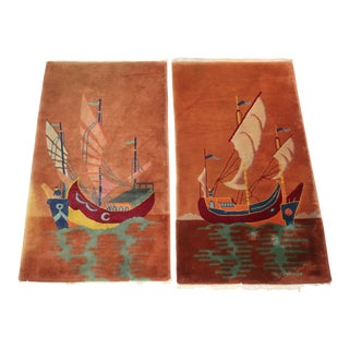 Art Deco Era Nichols Nautical Chinese Wool Rugs, a Pair For Sale