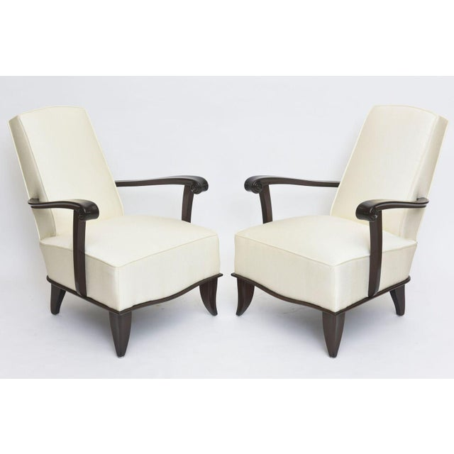 Jean Pascaud Pair of French Modern Rosewood and Upholstered Armchairs, 1940s For Sale - Image 10 of 11