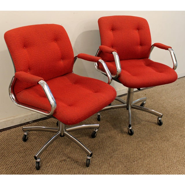 Pair of Mid-Century Danish Modern Red Chrome Steelcase Office Chairs on Wheels What a find. Offered is a very cool Pair of...