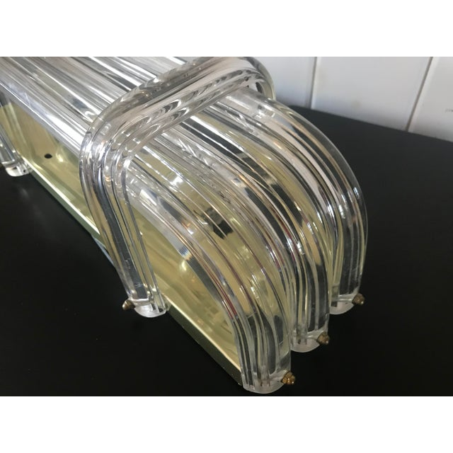 Metal Mid-Century Modern Lucite and Brass Vanity Light For Sale - Image 7 of 10