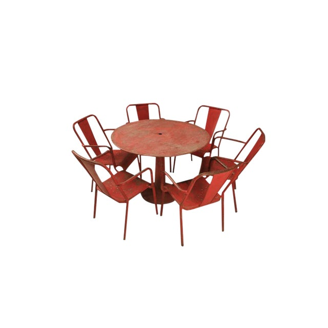 French Mid-Century Industrial Steel Table and Chairs - 7 pieces For Sale