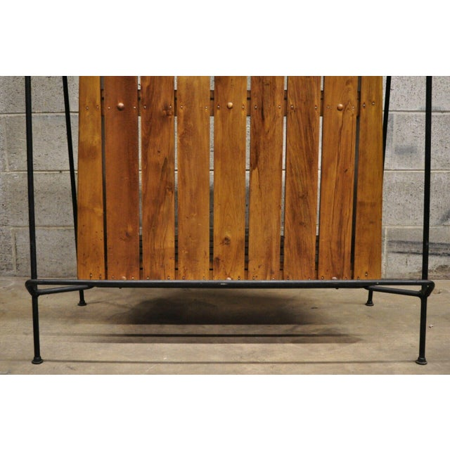 Metal Mid Century Modern Arthur Umanoff Wrought Iron and Rattan Bar and Bar Stools- 3 Pieces For Sale - Image 7 of 13