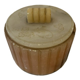 Italian Mid-Century Modern Art Deco Alabaster Pink and White Lidded Box For Sale