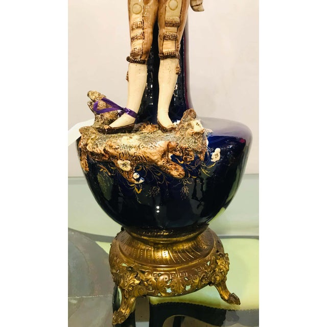 Black Two Large Porcelain French 19th-20th Century Figurative Vases or Male & Female For Sale - Image 8 of 13