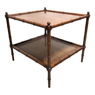Mid Century Faux Bamboo and Cane Walnut Side Table For Sale